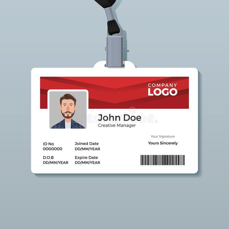 Eenvoudig en Schoon Rood Identiteitskaartmalplaatje royalty-vrije illustratie