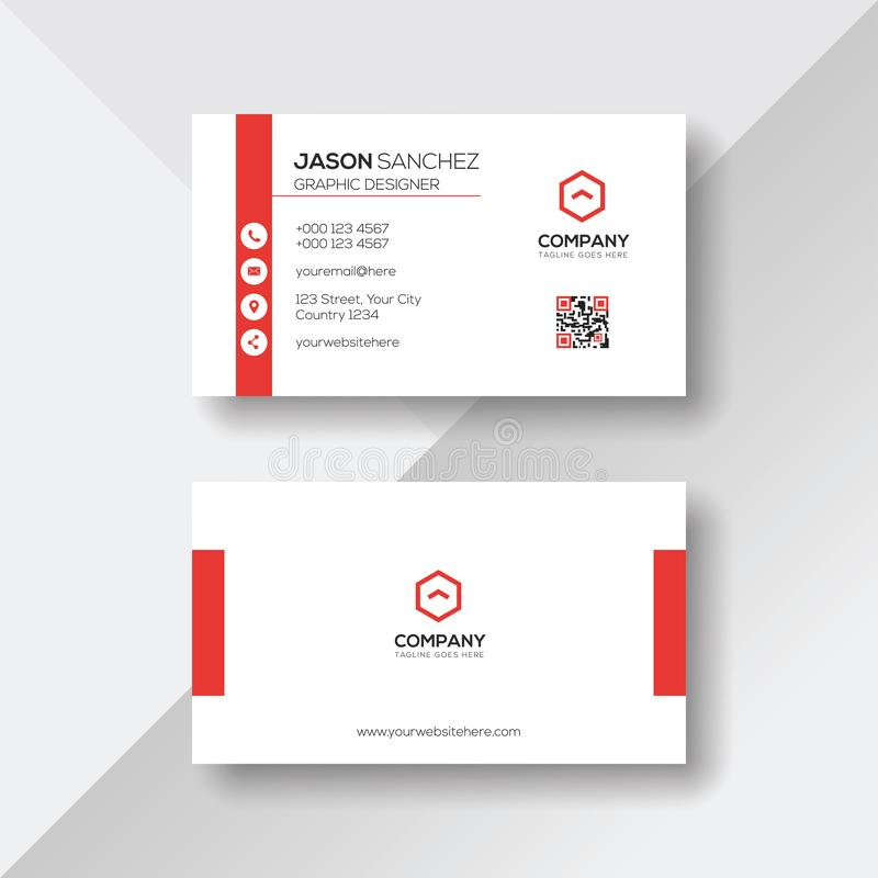 Eenvoudig en Schoon Wit Visitekaartje met Rode Details stock illustratie