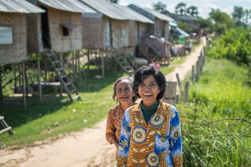 Eenvoudig geluk van dorpsbewoners stock foto's