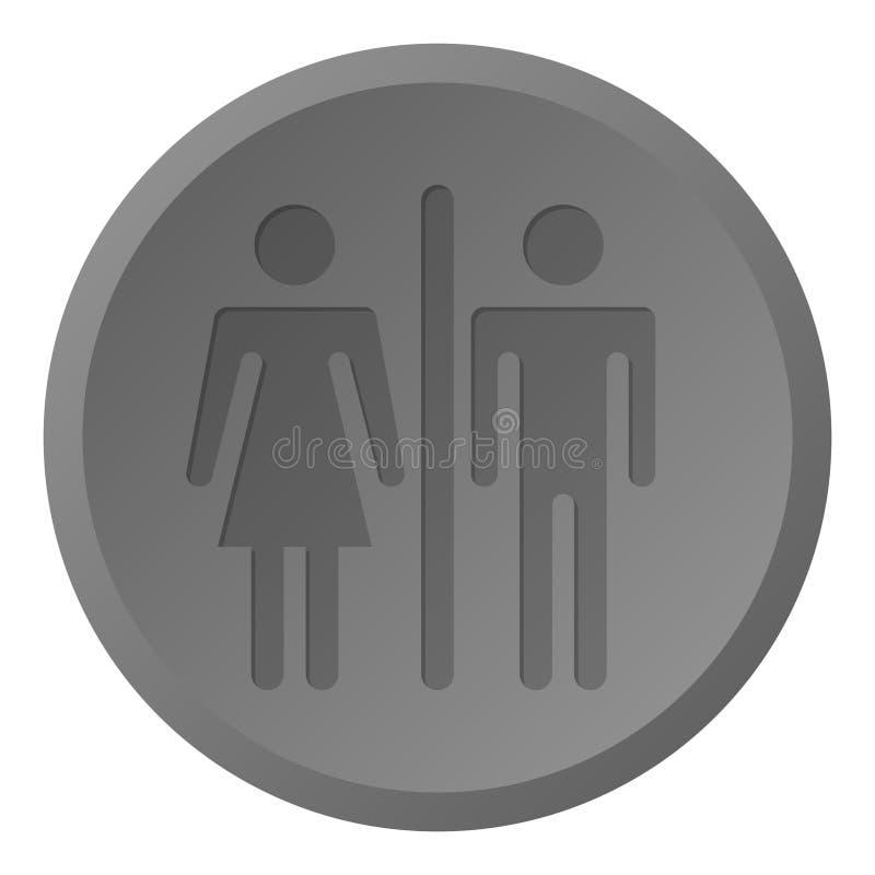 Eenvoudig, grijs schaalbadkamers/toiletteken/pictogramrondschrijven stock illustratie