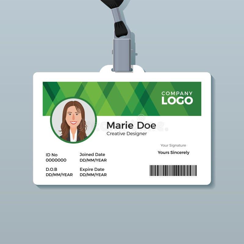 Eenvoudig Groen Identiteitskaartmalplaatje royalty-vrije illustratie
