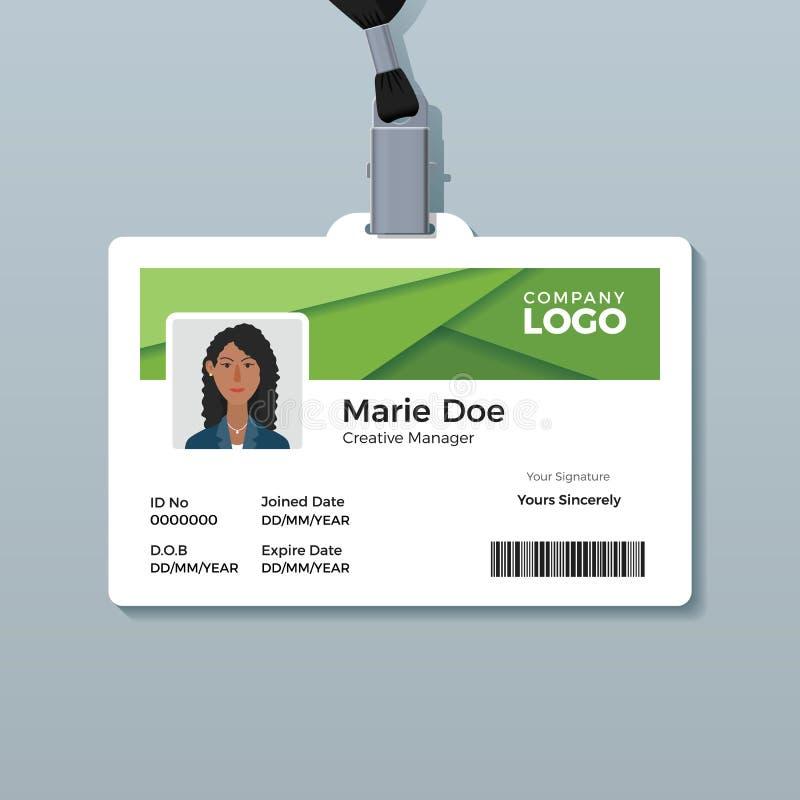 Eenvoudig Groen Identiteitskaartmalplaatje stock illustratie