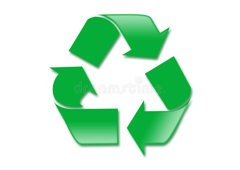 Eenvoudig groen kringloopsymbool stock afbeelding