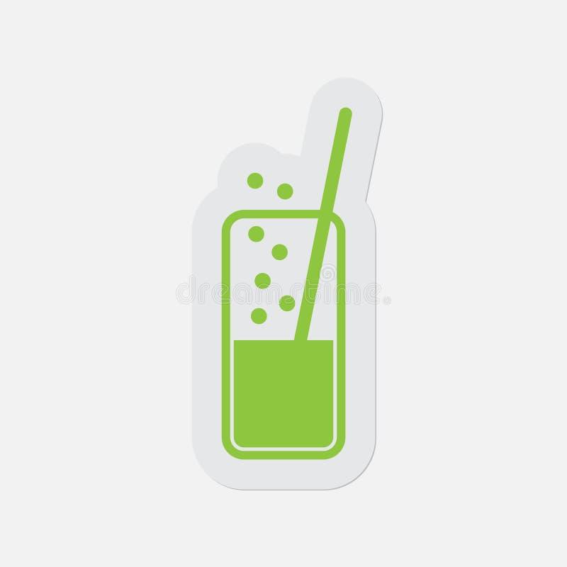 Eenvoudig groen pictogram - sprankelend drank en stro vector illustratie
