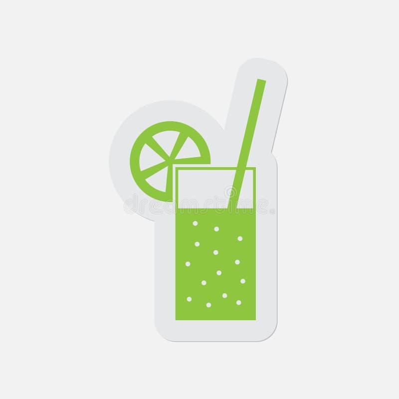 Eenvoudig groen pictogram - sprankelend drank en stro stock illustratie