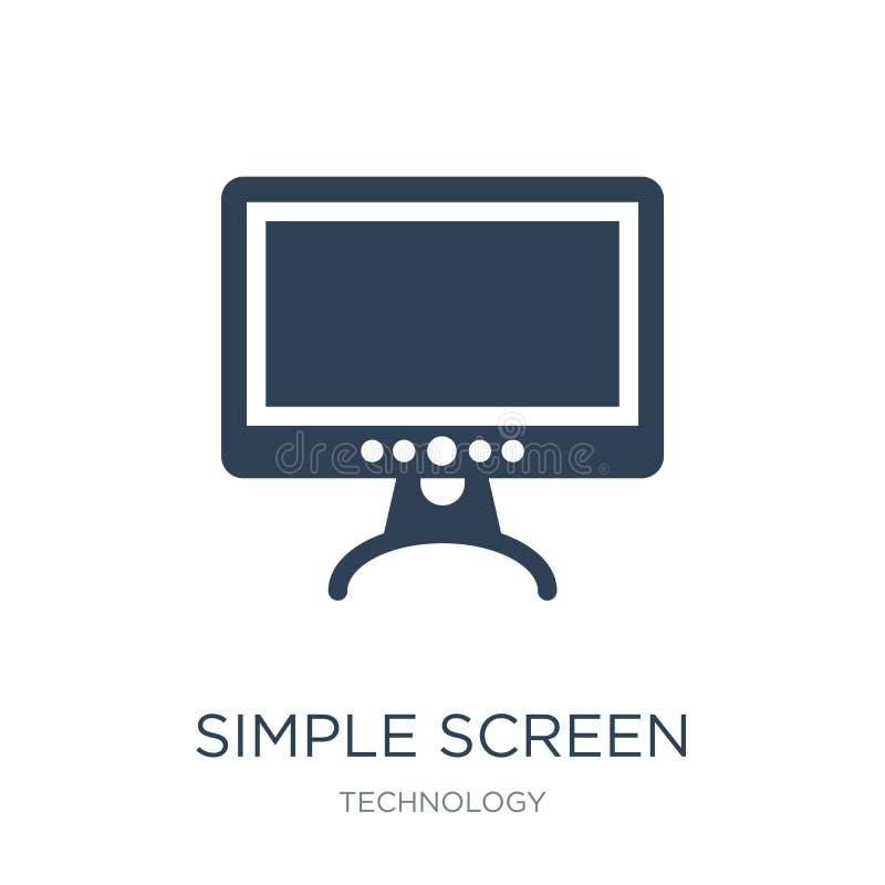 eenvoudig het schermpictogram in in ontwerpstijl eenvoudig die het schermpictogram op witte achtergrond wordt geïsoleerd eenvoudi vector illustratie
