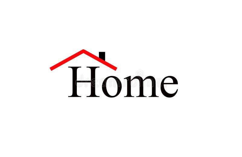 Eenvoudig huis met beeld van schuilplaats van rood dak wordt geschreven dat royalty-vrije stock foto's