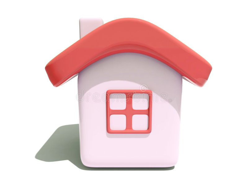 Eenvoudig huis met rood dak vector illustratie