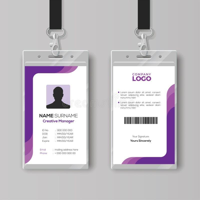 Eenvoudig Identiteitskaartmalplaatje met purpere details royalty-vrije illustratie