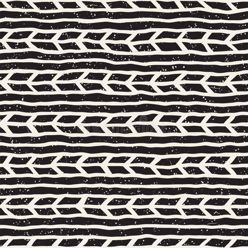 Eenvoudig inkt geometrisch patroon Zwart-wit zwart-witte slagenachtergrond Hand getrokken inktlijnen royalty-vrije stock foto