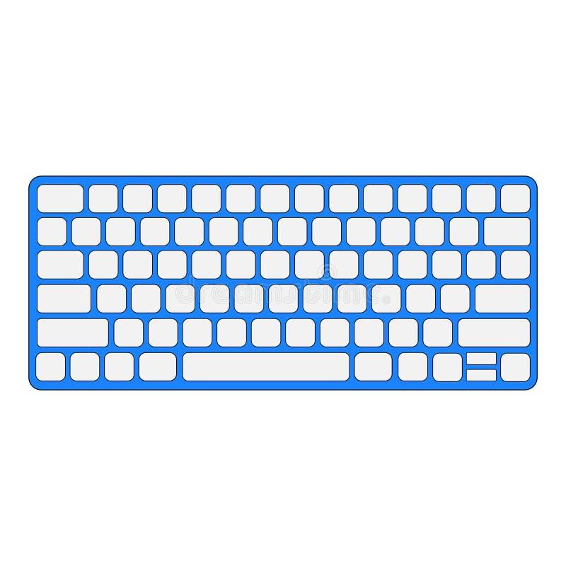 Eenvoudig, klein wit op blauw toetsenbord vector illustratie