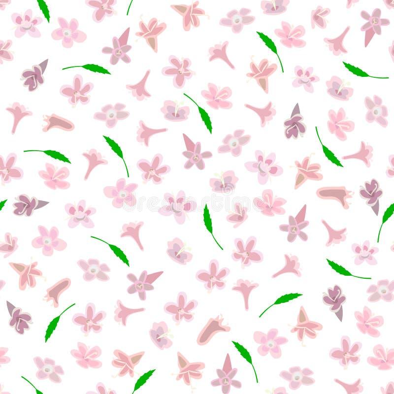 Eenvoudig leuk patroon in kleinschalige roze bloemen vector illustratie