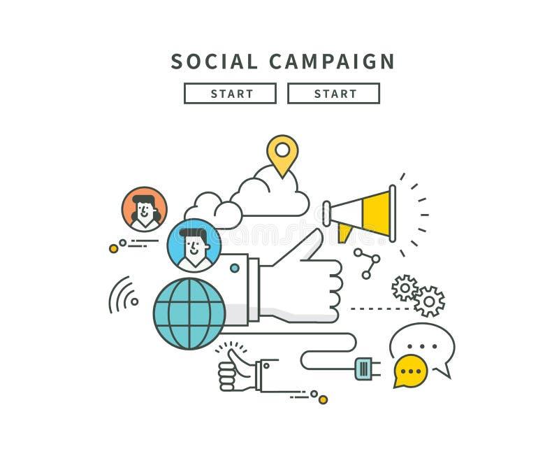 Eenvoudig lijn vlak ontwerp van Web sociale campagne, moderne illustratie royalty-vrije illustratie