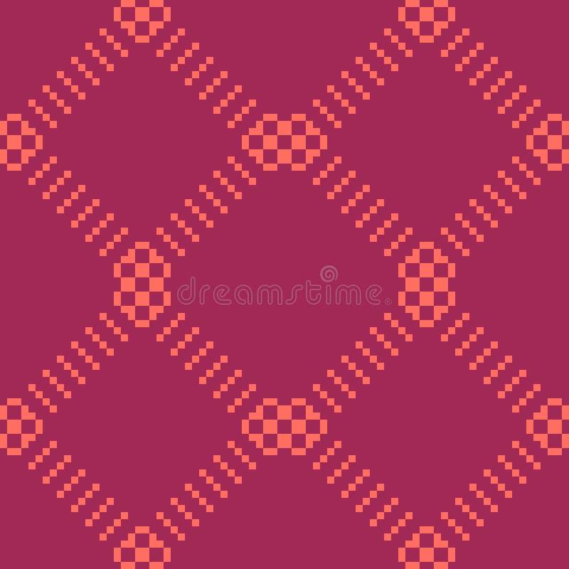Eenvoudig minimalistisch naadloos patroon met kleine vierkanten, net Bourgondië en koraal royalty-vrije illustratie