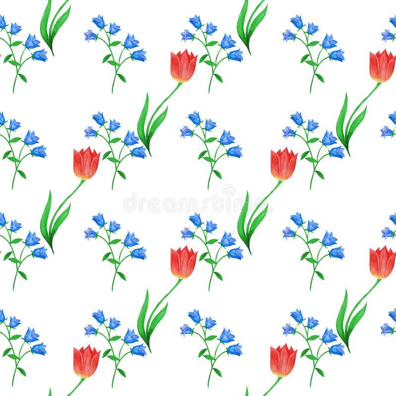 Eenvoudig naadloos bloemenpatroon Blauwe klokken en rode die tulpen willekeurig op witte achtergrond worden gevestigd royalty-vrije stock afbeelding