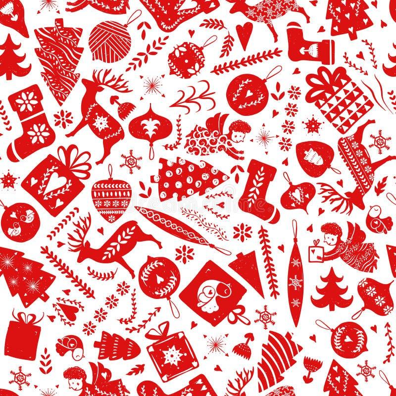 Eenvoudig naadloos patroon met een verscheidenheid van elementen: Kerstbomen, sneeuwvlokken, sterren, herten, sokken, ballen, blo vector illustratie