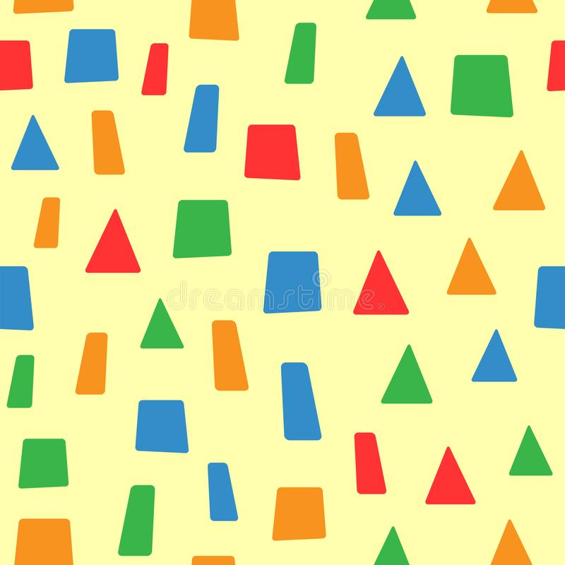 Eenvoudig naadloos patroon met geometrische vormen Eindeloze druk voor kinderen vector illustratie