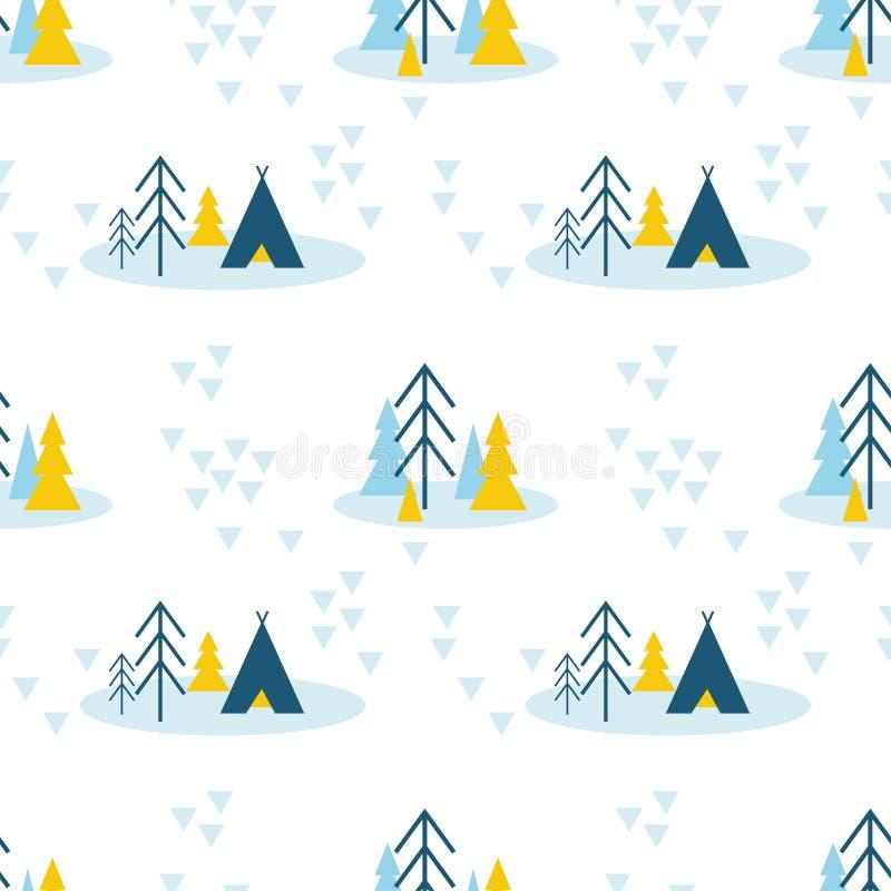 Eenvoudig naadloos patroon van van de winterbos die met pijnboombomen en tent kamperen vector illustratie