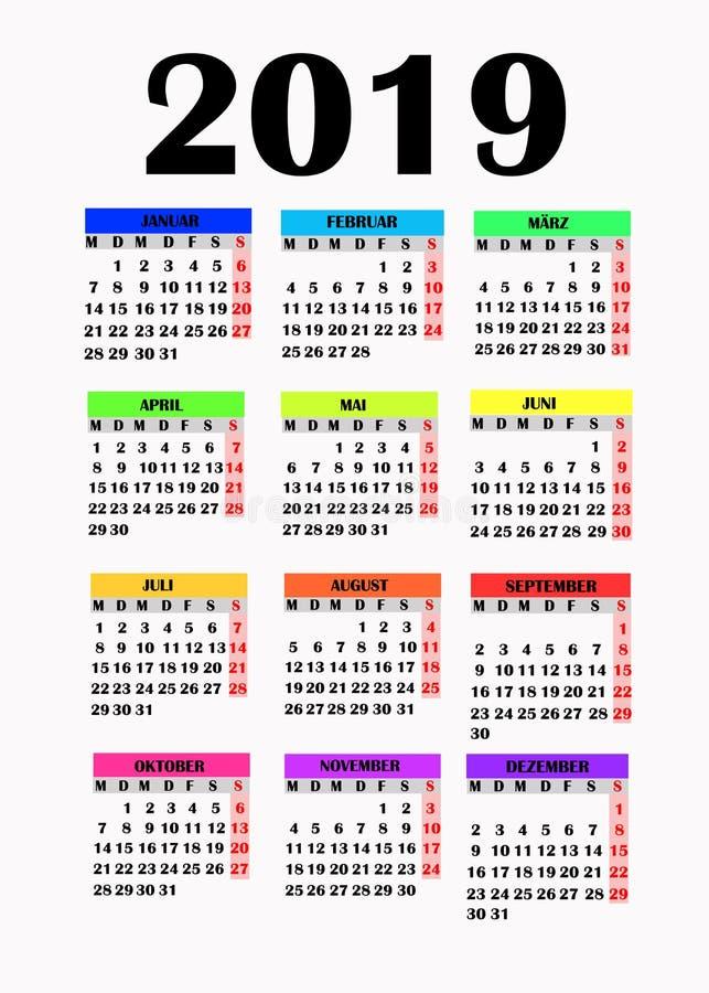 Eenvoudig ontwerp voor kalender 2019 royalty-vrije illustratie