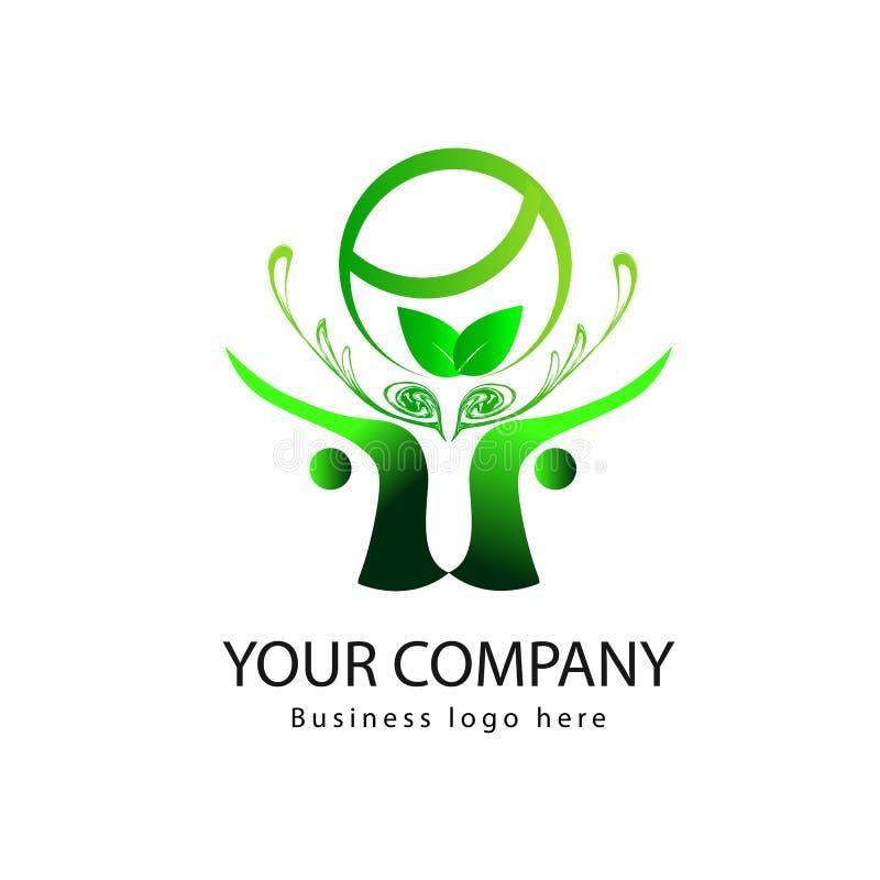 Eenvoudig Organisch embleem met bladeren en mensenembleem royalty-vrije illustratie