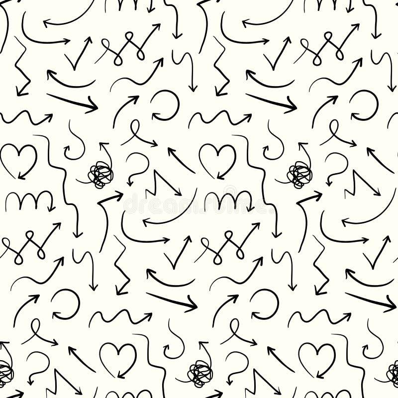 Eenvoudig patroon met leuke krabbelhand getrokken pijlen royalty-vrije illustratie