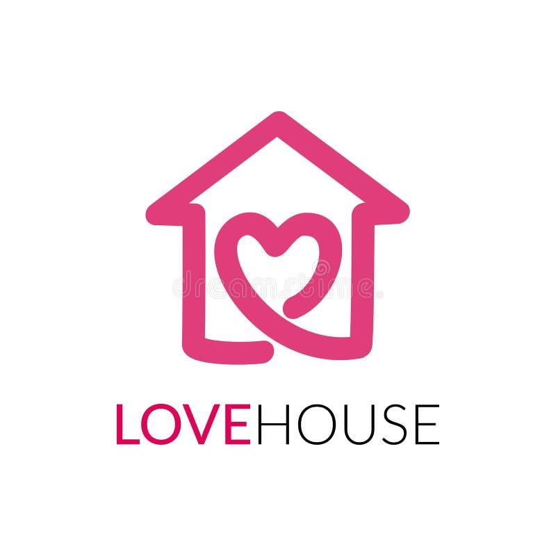 Eenvoudig pictogram van huis met hartvorm binnen royalty-vrije illustratie