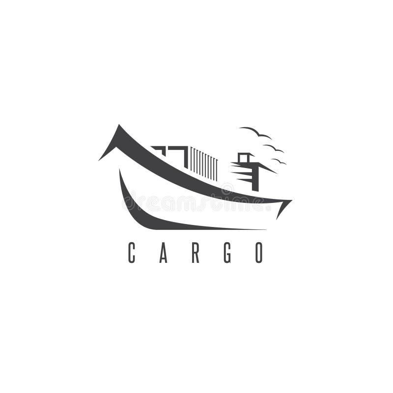 Eenvoudig pictogram van schip met containers vectorontwerp stock illustratie