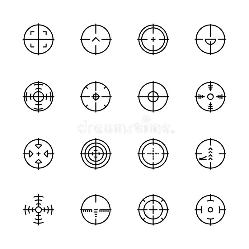 Eenvoudig pictogram vastgesteld doel en doel voor het schieten op waaier of militair slagveld Bevat dergelijke de sluipschutterwa stock illustratie