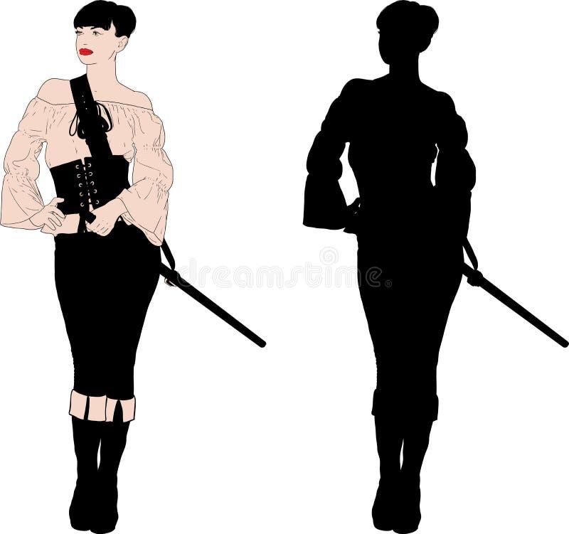 Eenvoudig piraatmeisjes royalty-vrije illustratie
