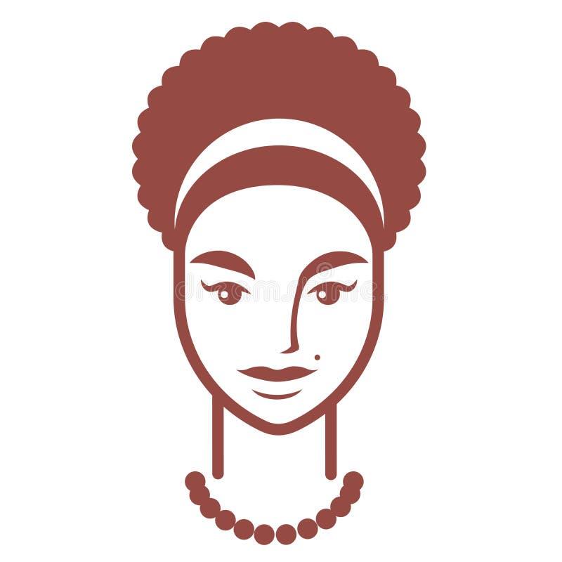 Eenvoudig portret van een mollig meisje met krullend haar en het balding stock illustratie