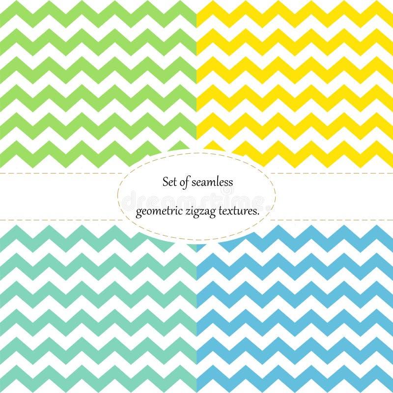 Eenvoudig retro zigzag naadloos patroon, in vier kleuren, vector stock illustratie