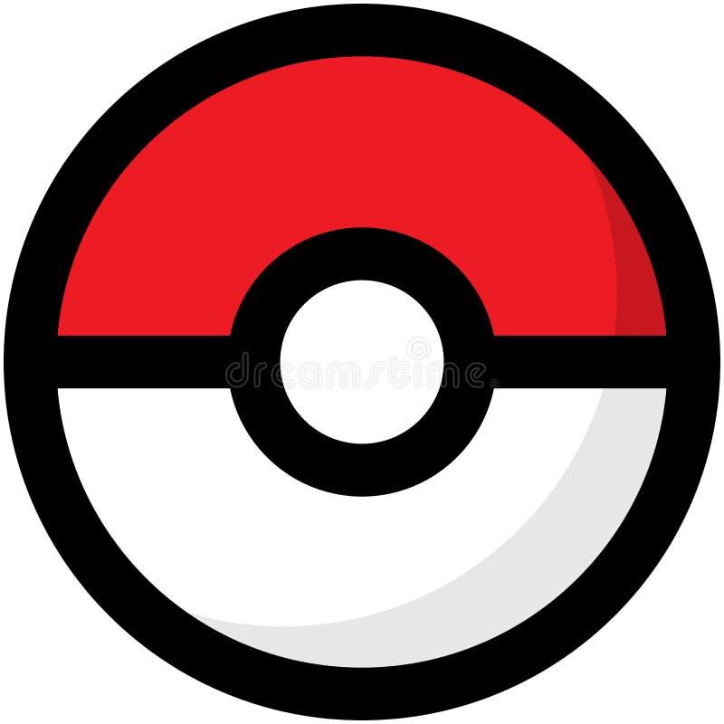 Eenvoudig rood en wit Pokemon-embleem EPS8 stock illustratie