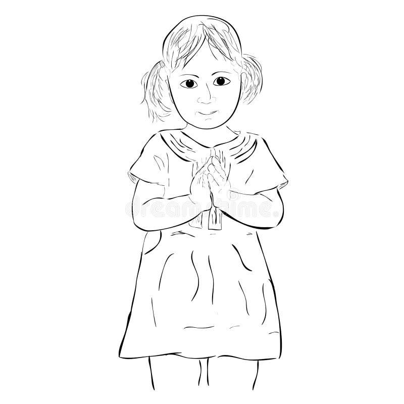 Eenvoudig schets jong meisje, begroetend die gebaar, op wit wordt geïsoleerd royalty-vrije illustratie