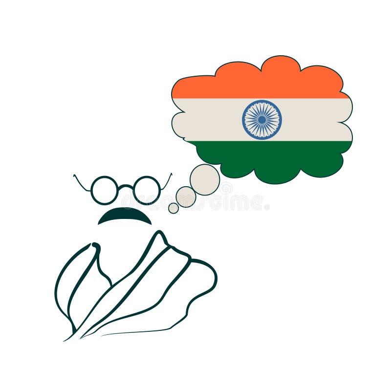 Eenvoudig stijlportret van Mahatma Gandhi vector illustratie