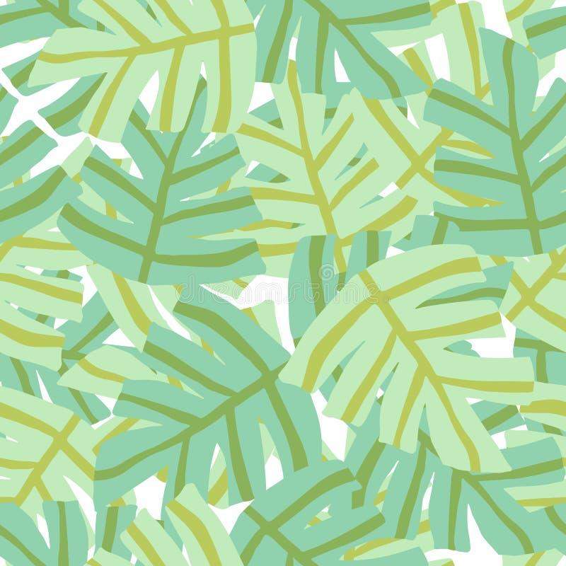 Eenvoudig tropisch groen bladeren naadloos patroon uit de vrije hand royalty-vrije illustratie