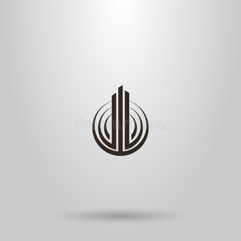Eenvoudig vector abstract vlak kunstteken die van drie pijlers in een rond kader stijgen royalty-vrije illustratie