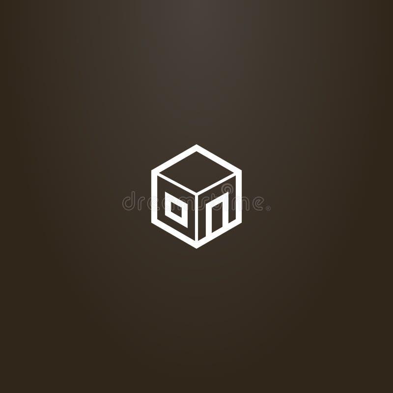 Eenvoudig vector de kubusteken van de lijnkunst als deel van een huis vector illustratie