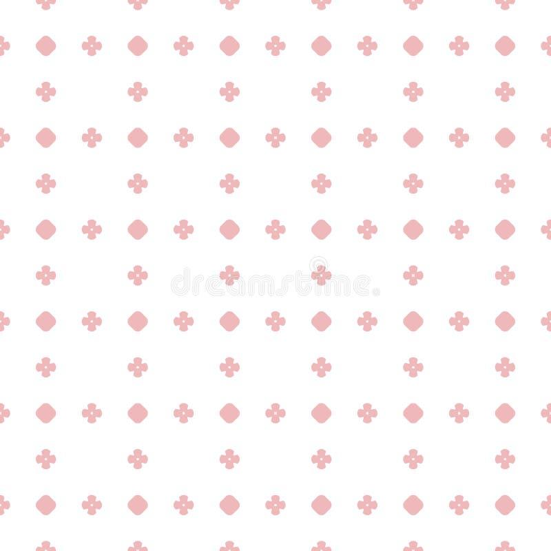 Eenvoudig vector naadloos patroon Stippen, cirkels, bloemen Roze en wit vector illustratie