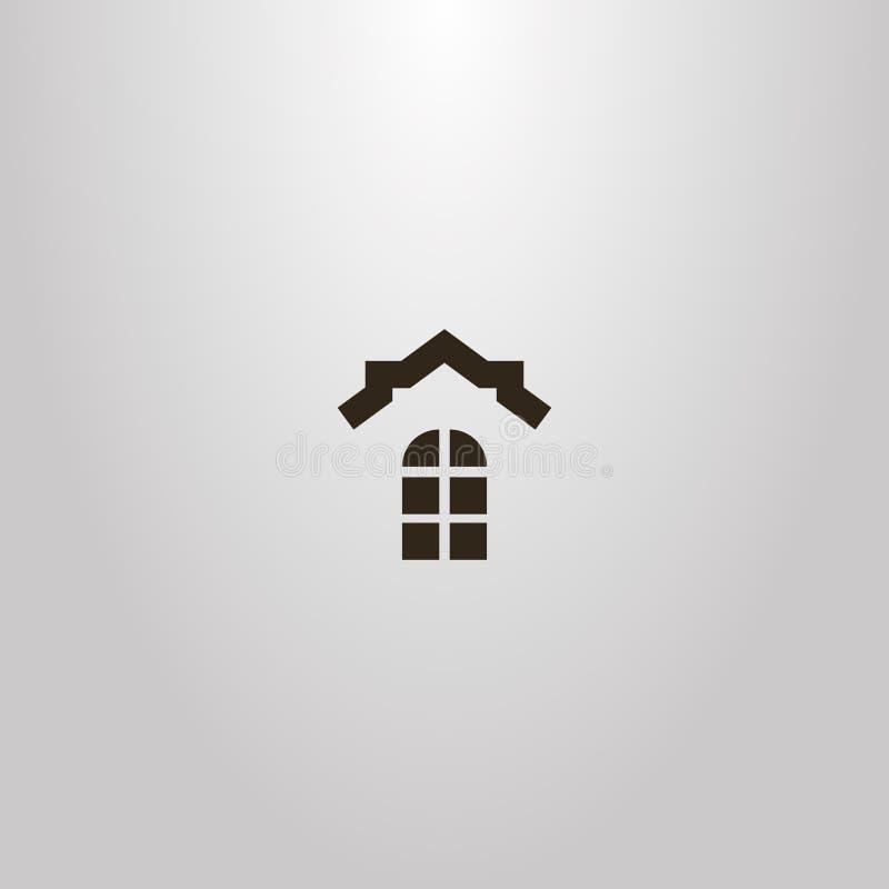 Eenvoudig vector vlak kunstteken van venster en het dak van een huis boven het royalty-vrije illustratie