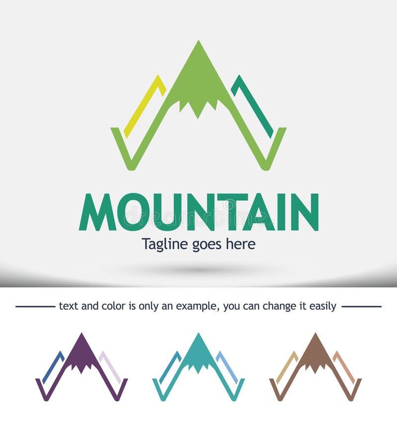 Eenvoudig vectorembleem in een moderne stijl, Bovenkant van de berg in de vorm van brief A stock fotografie