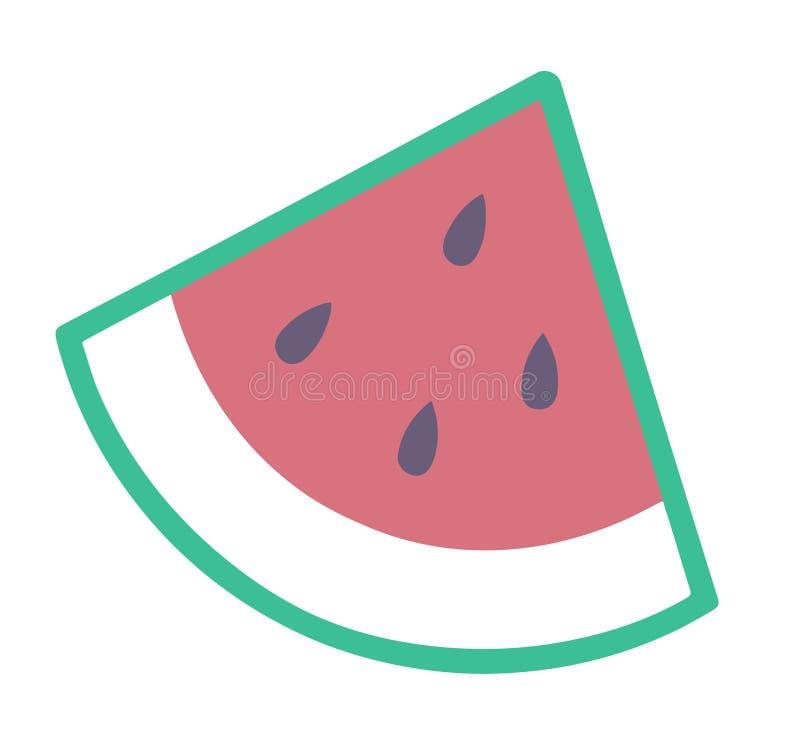 Eenvoudig vectorpictogram van een plak van een watermeloen stock illustratie