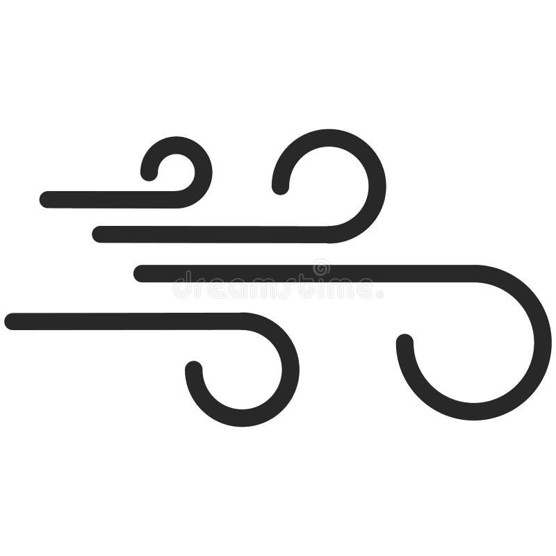 Eenvoudig Vectorpictogram van een wind in de stijl van de lijnkunst Perfect pixel stock afbeeldingen