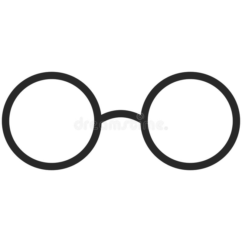 Eenvoudig Vectorpictogram van klassieke glazen in de stijl van de lijnkunst Perfect pixel Basisonderwijselement School en bureauh vector illustratie