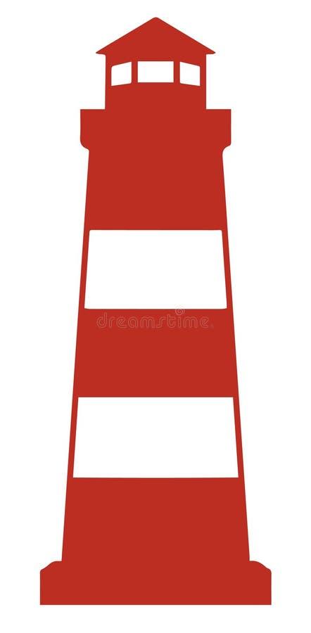 Eenvoudig vectorpictogram van rode vuurtoren stock illustratie