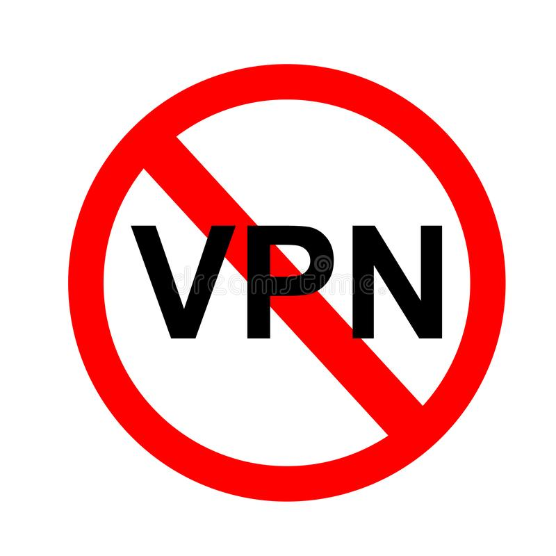 Eenvoudig Vectorteken geen VPN, Particulier netwerk royalty-vrije illustratie