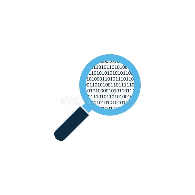 eenvoudig vergrootglas die scaning bron binaire code analyseren Vector illustratie die op witte achtergrond wordt geïsoleerdd stock illustratie