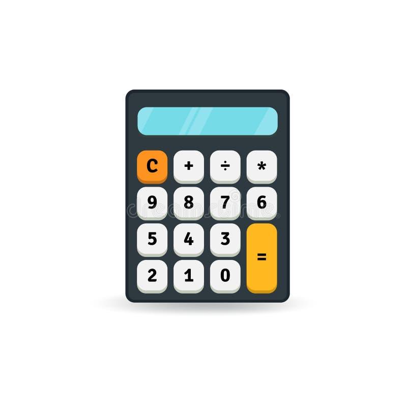 Eenvoudig vlak calculatorpictogram dat op witte achtergrond wordt geïsoleerd Het element van het ontwerp stock illustratie