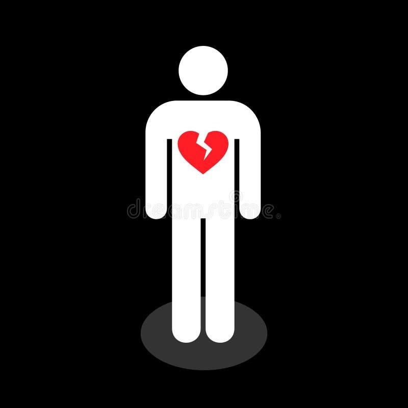 Eenvoudig, vlak persoons wit silhouet met een gebroken rood binnen hart stock illustratie