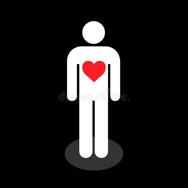 Eenvoudig, vlak persoons wit silhouet met een rood binnen hart Persoon in liefde vector illustratie
