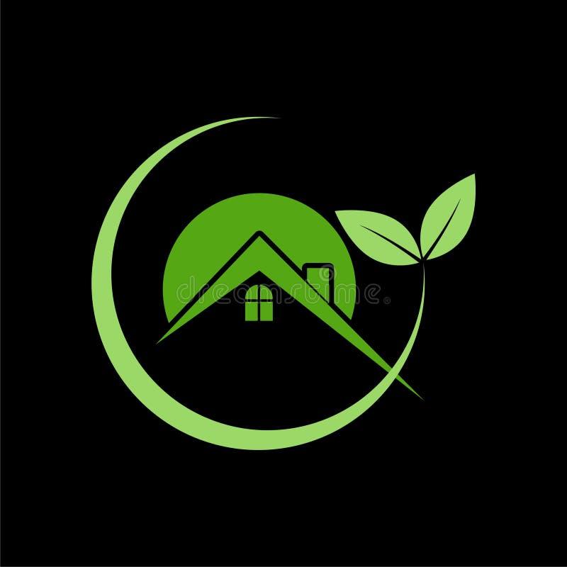 Eenvoudig Vriendschappelijk Groen het huisembleem van Eco stock illustratie
